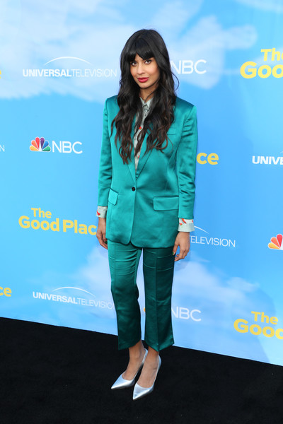 Jameela Jamil went menswear-chic in a teal pantsuit by The Kooples at the FYC event for 'The Good Place.'