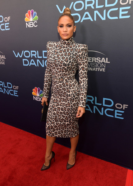 Jennifer Lopez was hard to miss in her pointy-shouldered Sergio Hudson leopard-print dress at the 'World of Dance' FYC event.