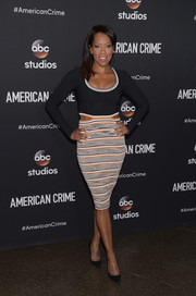 Regina King sheathed her toned physique in a tight-fitting combo dress with waist cutouts for the FYC screening of 'American Crime.'
