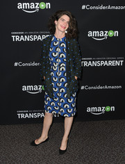 Gaby Hoffman finished off her dress with a dotted cardigan.