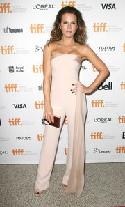 Kate Beckinsale looked bold and chic in a strapless nude jumpsuit by Azzaro Couture at the premiere of 'The Face of an Angel.'