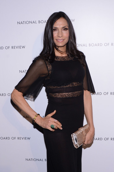Famke Janssen Metallic Clutch