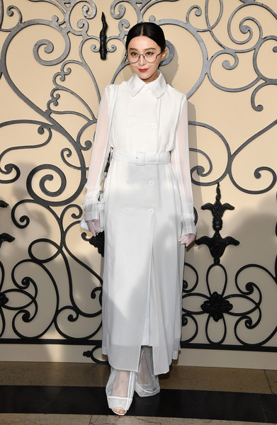 Fan Bingbing Trenchcoat [show,clothing,white,fashion,formal wear,haute couture,dress,fashion model,suit,neck,fashion design,fan bingbing,front row,part,paris,france,givenchy,paris fashion week womenswear spring]
