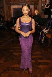 Serayah McNeill complemented her dress with a pair of purple suede pumps.