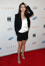 Keri Russell kept the monochrome motif going with a pair of striped strappy sandals by Gianvito Rossi.