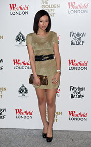 Leah went glam in a sparkling gold mini and black pumps at the Fashion for Relief photocall.