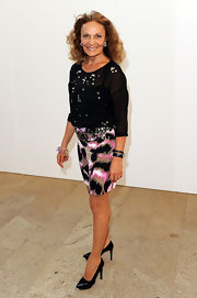 Diane von Furstenberg showed off a pointed pair of platform pumps while hitting Fashion Night Out Show.