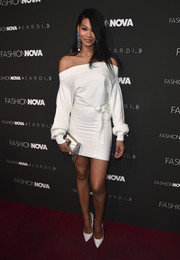 Chanel Iman looked alluring in an off-the-shoulder LWD at the launch of the Fashion Nova x Cardi B collaboration.