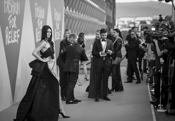 More Pics of Kendall Jenner One-Shoulder Top (1 of 9) - Tops Lookbook - StyleBistro [image,photograph,black-and-white,fashion,monochrome,monochrome photography,dress,event,photography,architecture,gown,kendall jenner,fashion,relief,fashion for relief,aeroport cannes mandelieu,cannes,red carpet arrivals,cannes film festival,event]