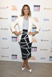 Jessica Alba was business-chic in her patterned pencil skirt, blue button-down, and white blazer combo at the LA Creativity Counter Conference.