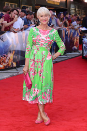 Helen Mirren looked vibrant in a green and pink floral dress by Eponine London at the special screening of 'Fast & Furious: Hobbs & Shaw.'