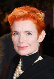 Sandy Powell styled her signature orange hair into a messy-chic 'do for the UK premiere of 'The Favourite.'