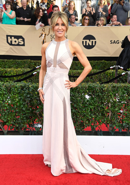 Felicity Huffman Fishtail Dress [gown,flooring,carpet,beauty,fashion model,red carpet,lady,dress,shoulder,hairstyle,arrivals,felicity huffman,screen actors guild awards,los angeles,california,the shrine auditorium]