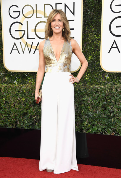 Felicity Huffman Jumpsuit [gown,flooring,carpet,beauty,dress,lady,red carpet,fashion model,shoulder,fashion,arrivals,felicity huffman,beverly hills,california,the beverly hilton hotel,golden globe awards]