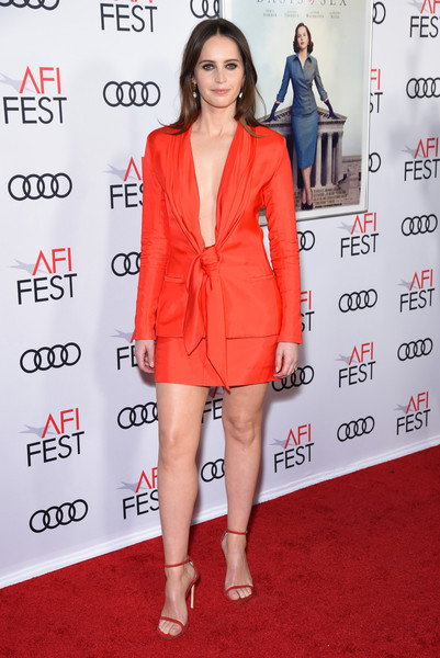 Felicity Jones Strappy Sandals [on the basis of sex,clothing,red,fashion model,red carpet,dress,cocktail dress,carpet,shoulder,premiere,fashion,arrivals,felicity jones,tcl chinese theatre,california,hollywood,audi,afi fest,opening night world premiere gala screening]