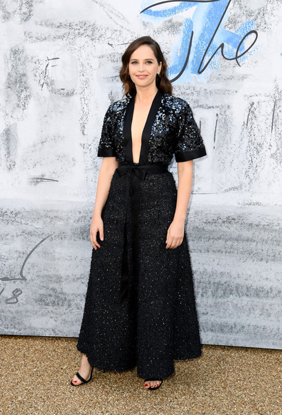 Felicity Jones Jumpsuit [clothing,dress,fashion,formal wear,photo shoot,photography,haute couture,fashion design,fashion model,long hair,felicity jones,england,london,serpentine galleries,chanel,summer party,red carpet arrivals,the serpentine gallery,the summer party]