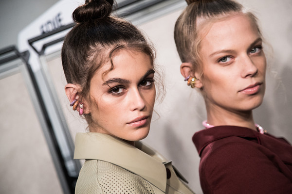 More Pics of Kaia Gerber Hair Knot (1 of 8) - Kaia Gerber Lookbook - StyleBistro [image,hair,face,eyebrow,hairstyle,lip,beauty,cheek,fashion,skin,chin,kaia gerber,filters,fendi - backstage,milan,italy,fendi,milan fashion week,show,milan fashion week spring]