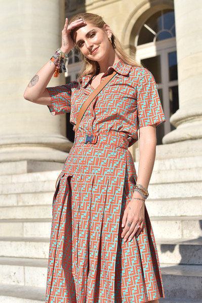 More Pics of Chiara Ferragni Shirtdress (1 of 2) - Dresses & Skirts Lookbook - StyleBistro [clothing,orange,pattern,dress,day dress,street fashion,fashion,shoulder,fashion model,chiara ferragni,fendi couture,paris,france,fendi,paris fashion week]