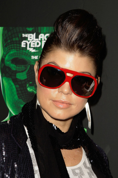 Fergie Pompadour [eyewear,sunglasses,hair,cool,glasses,hairstyle,vision care,black hair,forehead,lip,fergie,sydney,australia,star city,black eyed peas,party,party]