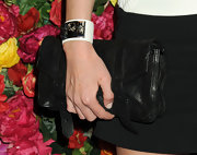 Nicky Hilton's black leather clutch was a classic choice for the red carpet.