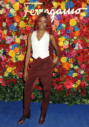 Azealia's burgundy harem pants gave her look a cool masculine touch!