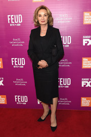Jessica Lange kept it low-key in a black skirt suit at the 'Feud: Bette and Joan' NYC event.