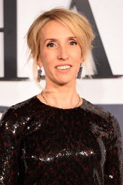 Sam Taylor-Johnson went for edgy styling with this messy updo when she attended the 'Fifty Shades of Grey' UK premiere.