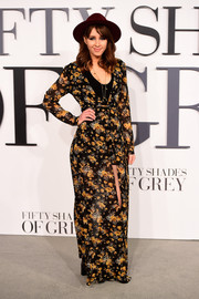 Esmee Denters attended the UK premiere of 'Fifty Shades of Grey' looking boho in a floral maxi dress.