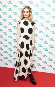 Lily James looked cute in a Petar Petrov maxi dress printed with oversized polka dots at the Into Film Awards.