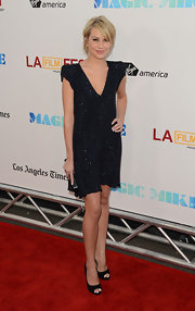 Chelsea looked lovely in this midnight blue beaded shift dress at the premiere of 'Magic Mike.'