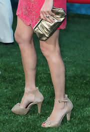Marcia Gay Harden wore a pair of textured peep-toes with ankle cuff at the Los Angeles Film Fest premiere of 'Brave'.
