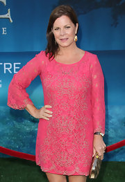 Marcia Gay Harden went out to see the LA premiere of 'Brave' wearing an embroidered lace mini dress.