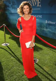 India was all smiles at the 'Brave' premiere in this brilliant red gown.