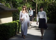 Melania Trump was casual-chic in a white maxi dress by Calvin Klein while touring the Morikami Museum and Japanese Gardens.