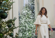 Melania Trump went for understated elegance in a white Dior dress with bell sleeves for the unveiling of the White House's holiday decor.