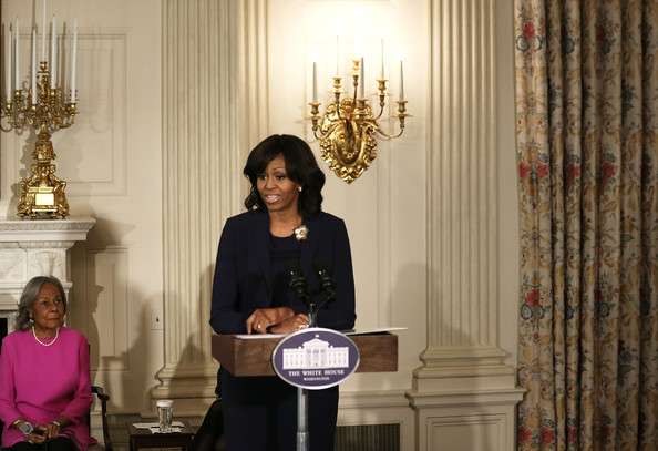 More Pics of Michelle Obama Medium Wavy Cut with Bangs (5 of 5) - Michelle Obama Lookbook - StyleBistro