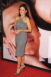 Julia Louis-Dreyfus added a touch of drama to her sophisticated frock with a pair of bejeweled metallic pewter heels.