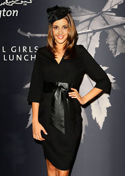 Rebecca wears a kimono style LBD with a black patent tie belt for the Flemington Girls Fashion Lunch.
