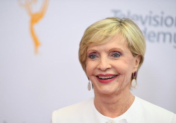 Florence Henderson Short Side Part [hair,eyebrow,human hair color,hairstyle,blond,smile,chin,forehead,long hair,hair coloring,arrivals,florence henderson,mary holland,niecy nash,jason george,emmy awards,red carpet,los angeles area,california,los angeles emmy awards]