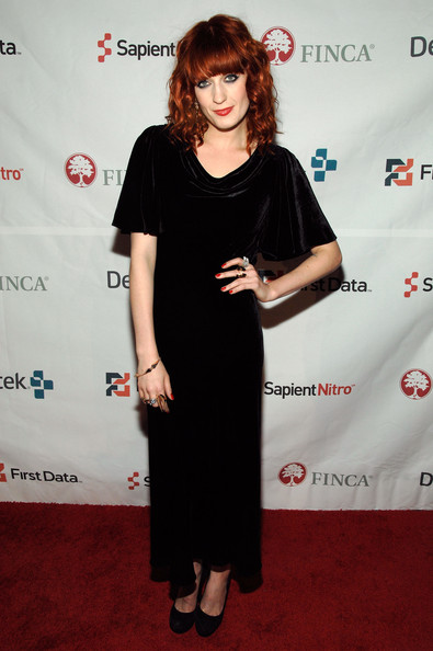 Florence Welch Evening Dress [little black dress,flooring,fashion model,dress,shoulder,joint,carpet,fashion,vision care,formal wear,florence welch,new york city,capitale bowery,finca,florence and the machine,event,gala event,finca 25th anniversary]