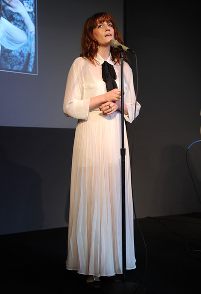 Florence Welch Evening Dress [performance,event,talent show,performing arts,singing,formal wear,singer,orator,fashion design,apple store live from soho presents florence the machine,new york city,soho,florence the machine,apple store,florence welch]