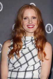 Jessica Chastain showed off her signature red locks with a wavy 'do.
