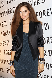 Amber Le Bon added a touch of edginess to her F21 UK launch look as she stacked a couple of beaded bracelets around her wrists.