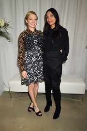 Michelle Williams sported a vibrant mix of prints at the Females in Focus photo exhibition.