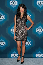 Meera Rohit Kumbhani sported a leggy look in a lace LBD white a white underlay during the Fox All-Star party.