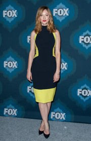 Judy Greer attended the Fox All-Star party wearing a navy and yellow turtleneck dress that perfectly showed off her svelte physique.