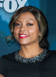 Taraji P. Henson attended the Fox All-Star party wearing a very loose chignon.