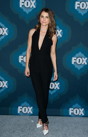 Keri Russell completed her monochrome look with a pair of Christian Louboutin lace-up T-strap pumps.