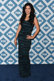 Stephanie Beatriz looked super slim in her teal and black column dress during the Fox All-Star party.