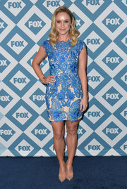 Becca Tobin oozed ultra-feminine elegance in a blue lace cocktail dress during the Fox All-Star party.